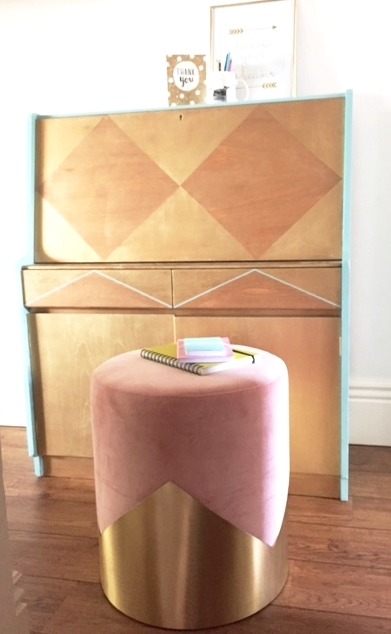 The luxurious  Lune V stool  and a charity shop upcycled bureau.