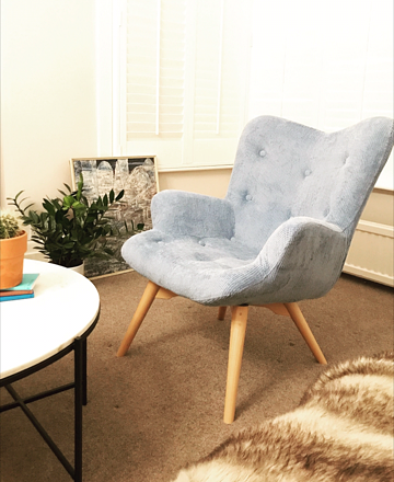 My baby blue corduroy Angel chair by www.tubchairs.com