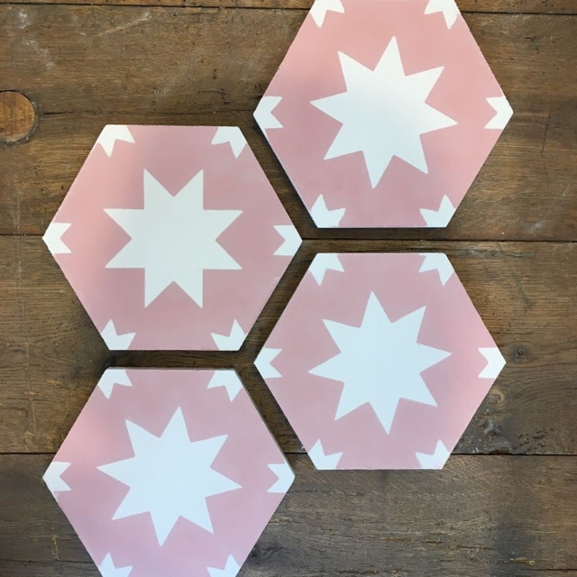 New hexaganol pink  Pradena  tile by Bert and May
