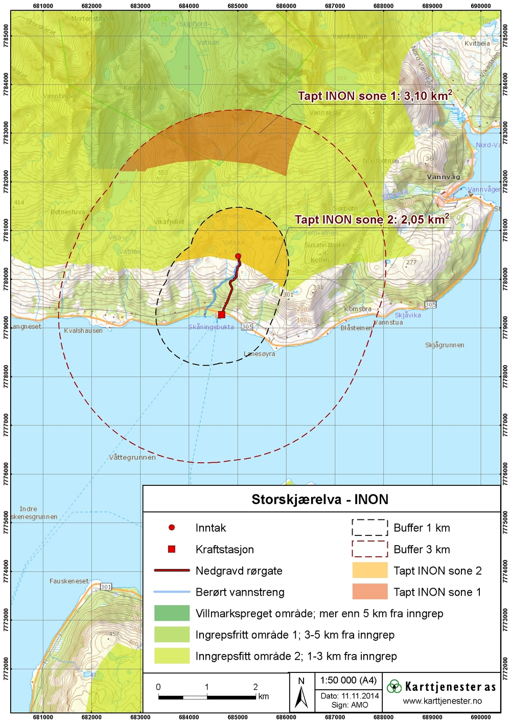 Temakart - Kart over ingrepsfrie naturområder (INON)