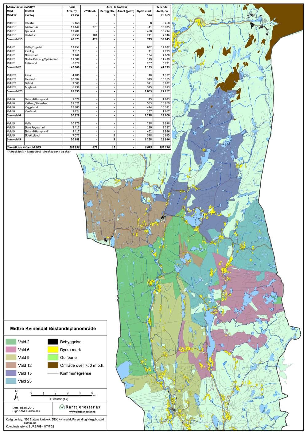 Temakart - Valdoversikt for bestandsplanområde, Kvinesdal kommune