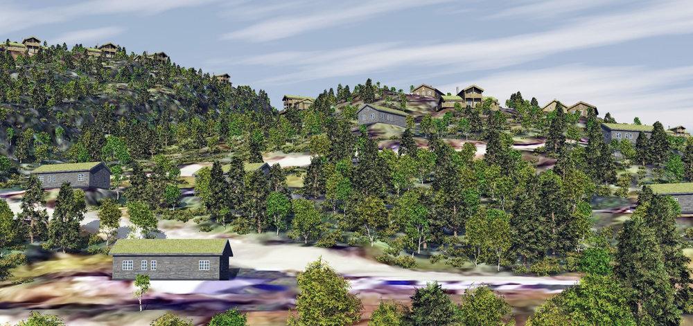 3D-visualisering av planlagt hyttefelt på Svartevassåsen i Sirdal