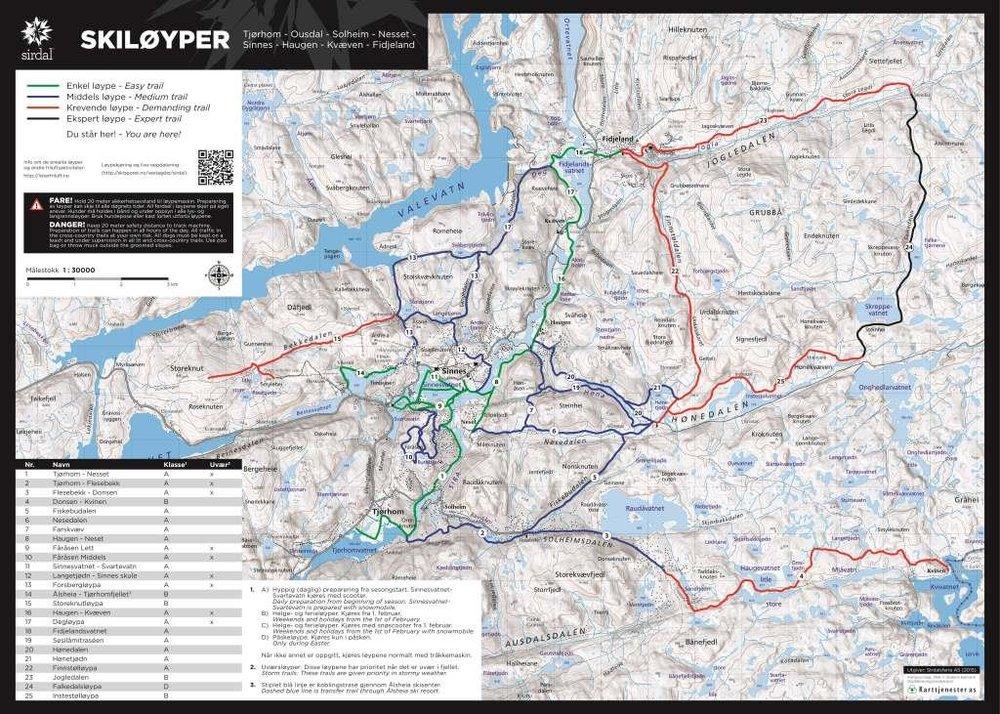 Kart til infotavle - Skiløyper