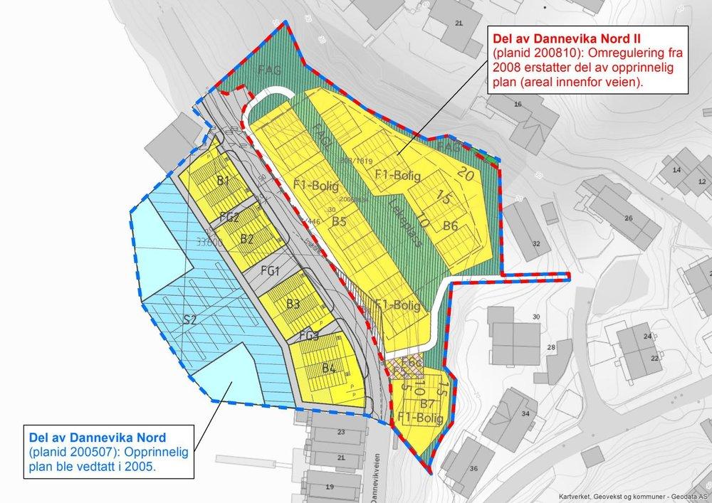 Fig 1: Dagens plansituasjon i området. Begge planene vil bli berørt og erstattet av ny plan.