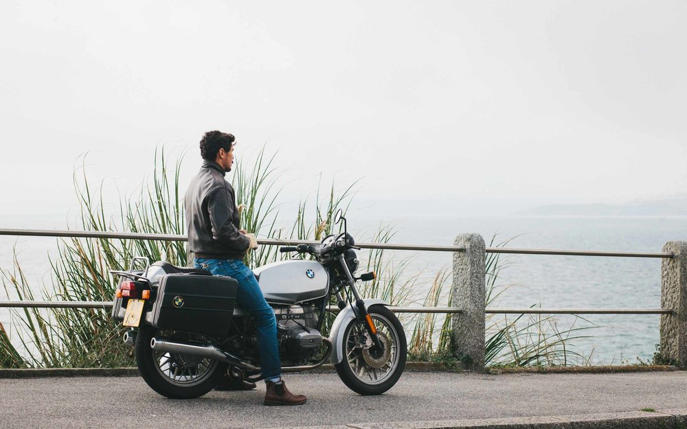 Vintage BMW motorcycle | Tudor Watches and Finisterre for Esquire Magazine | Karl Mackie Photography
