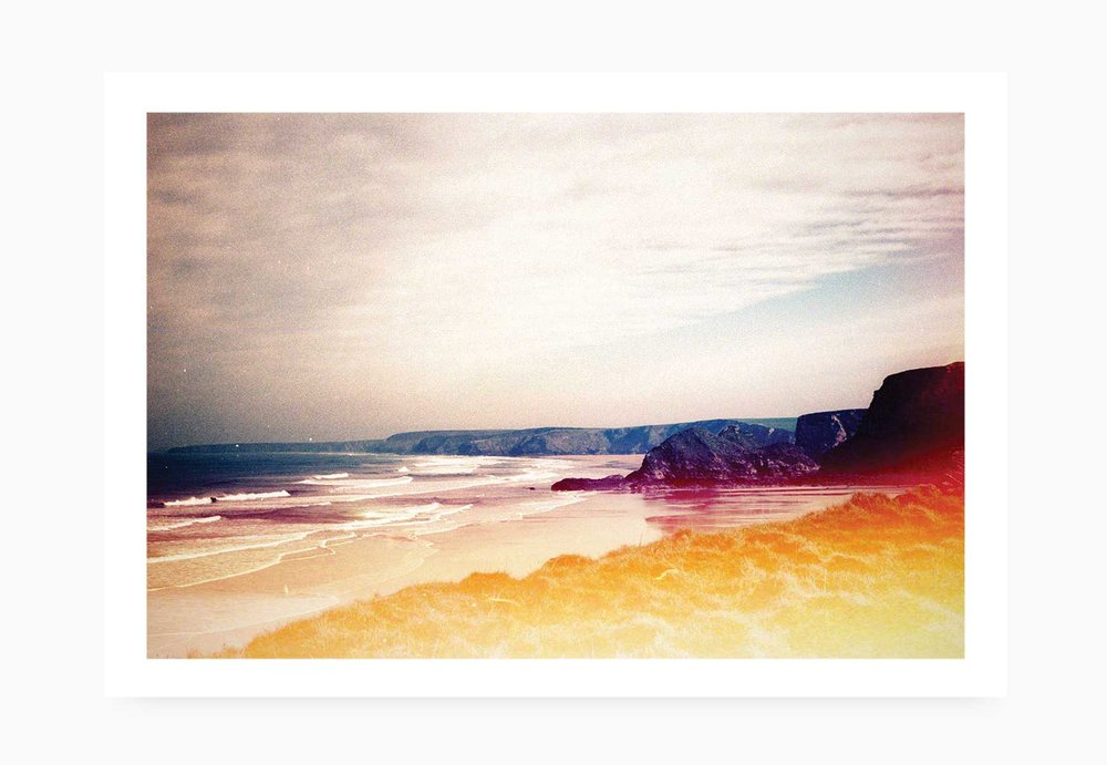 Light leaked Watergate Bay | Karl Mackie Photography | Art Print