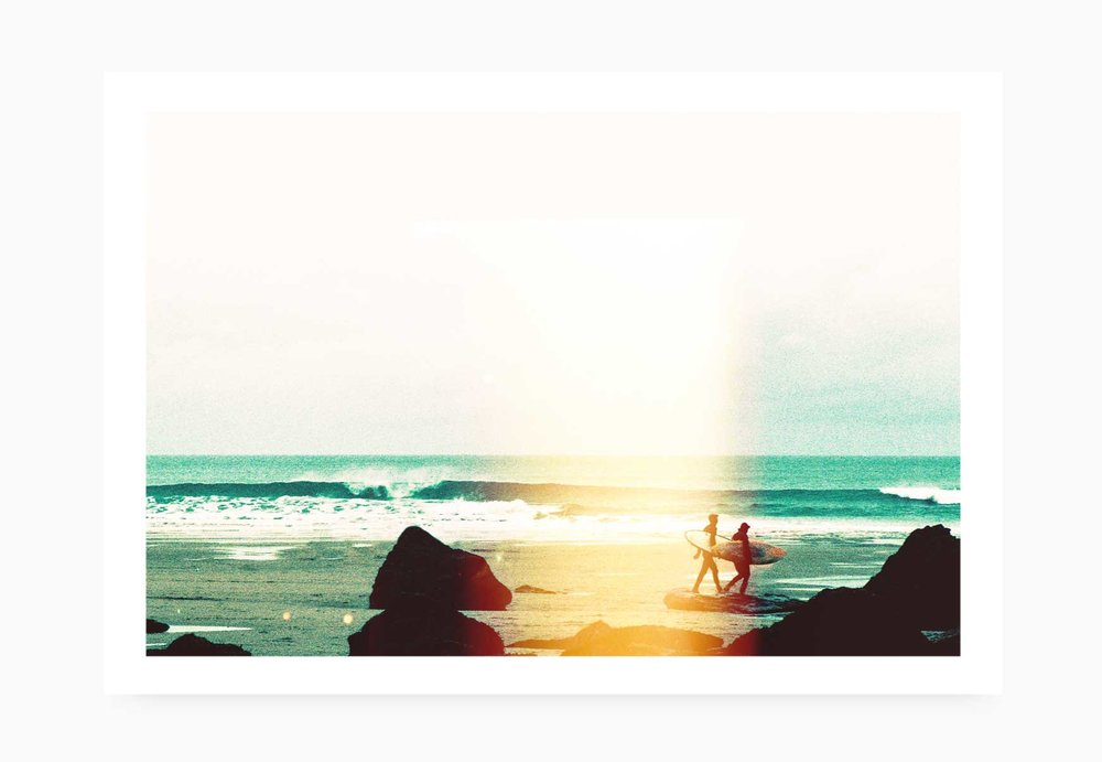 Surfers braving the cold at Watergate Bay | Karl Mackie Photography | Art Print