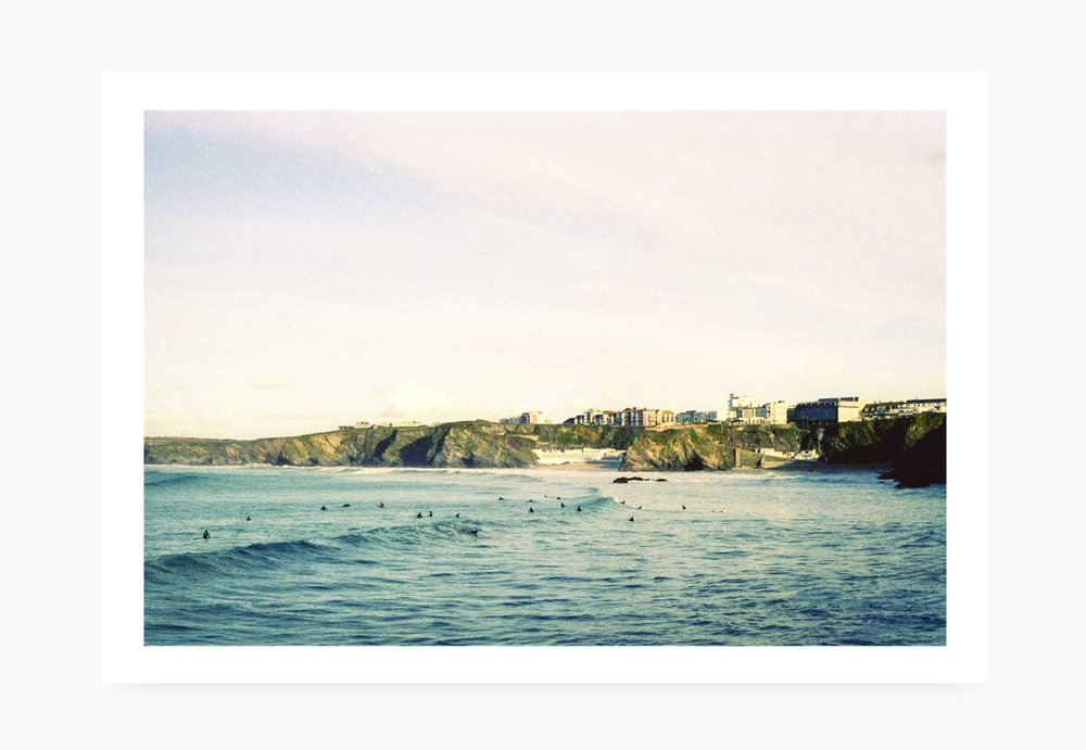 Surfers waiting for waves at Towan Beach | Karl Mackie Photography | Art Print