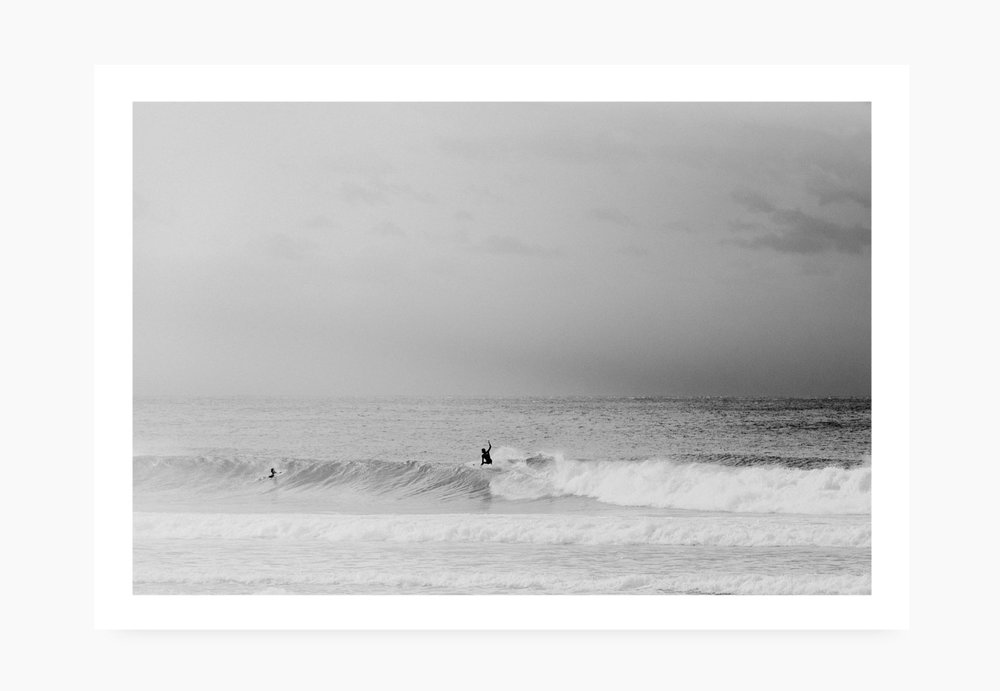 Surfer off the wall at Broken Head Byron Bay | Karl Mackie Photography | Art Print