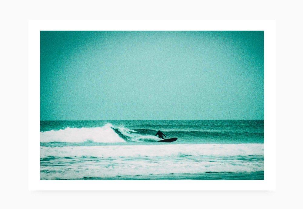 Surfer bottom turning at Watergate Bay | Karl Mackie Photography | Art Print
