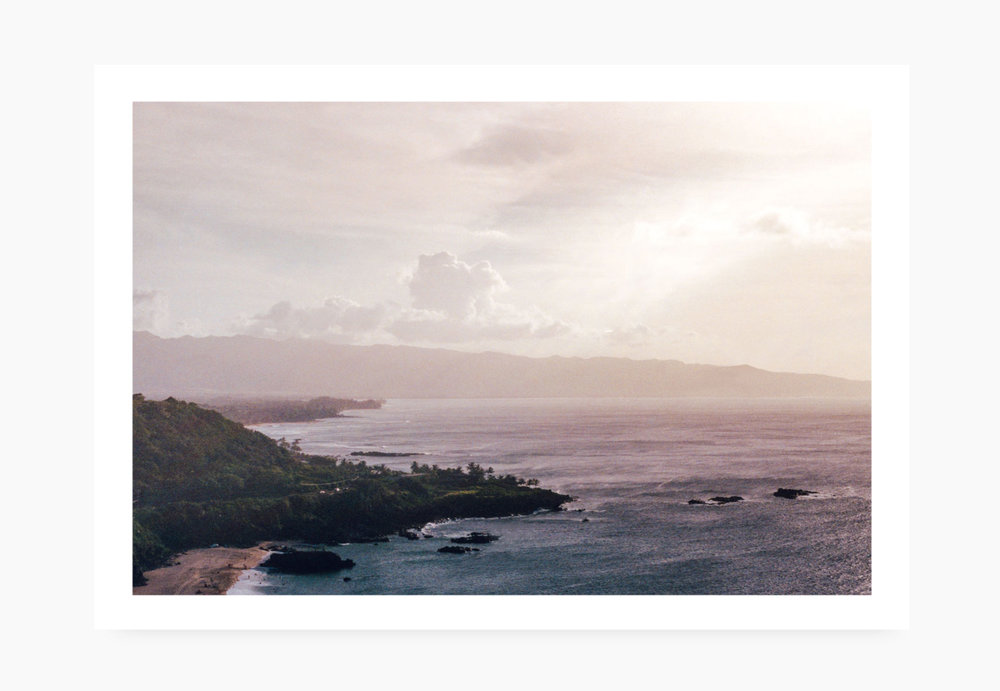 35mm image of looking over Waimea Bay | Karl Mackie Photography | Art Print