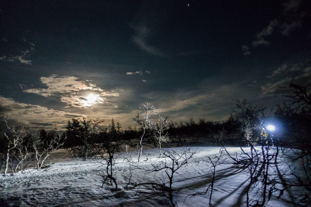 It all started with a 2 km hike to the cabin. Full moon, head lights and no wind. Just beyond epic!