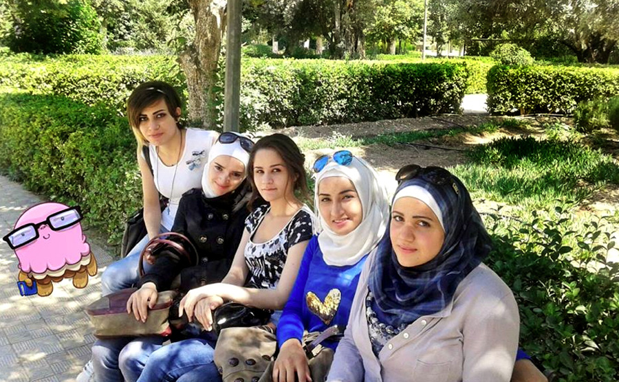 Suhaila with friends in Damascus