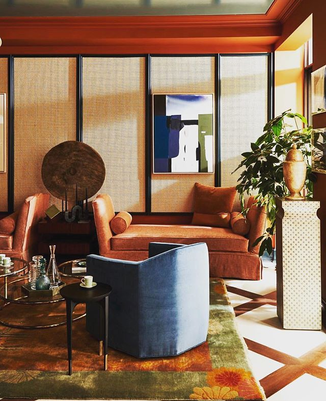 This shit is rich. Obsessed with the colors, and the textures, and the furniture lines... also- CANE PANELS... Huge fan. // 📷 @onekingslane // #interiordesign #onekingslane #livingroom #interiordesigner