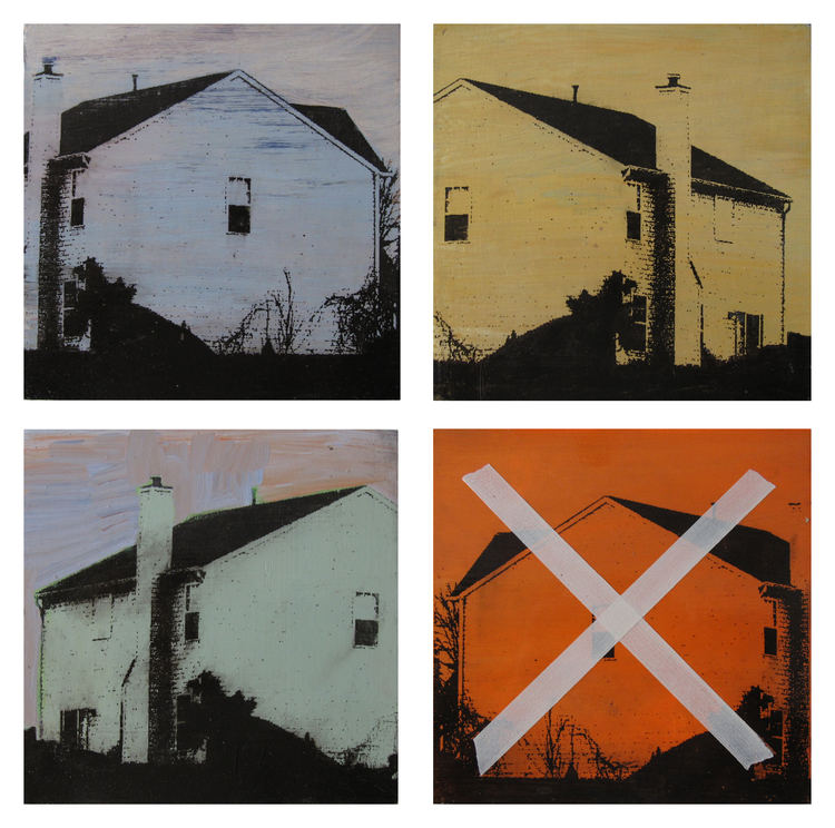 "SMALL HOUSE (series)  9""x9"" each  Mixed Media"