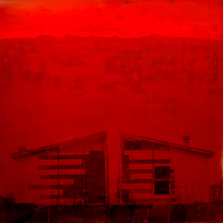 "BIG RED HOUSE  60""x60"" Mixed Media"