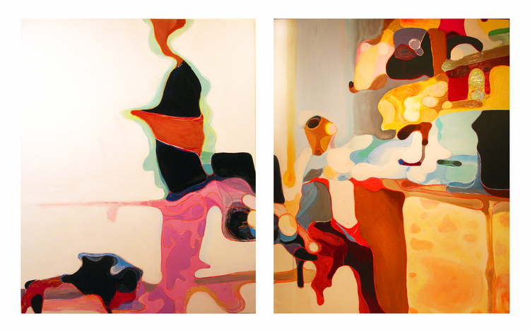 "MOTHER, DOG, CHILD (diptych) 96""x60"" Acrylic on Panel"