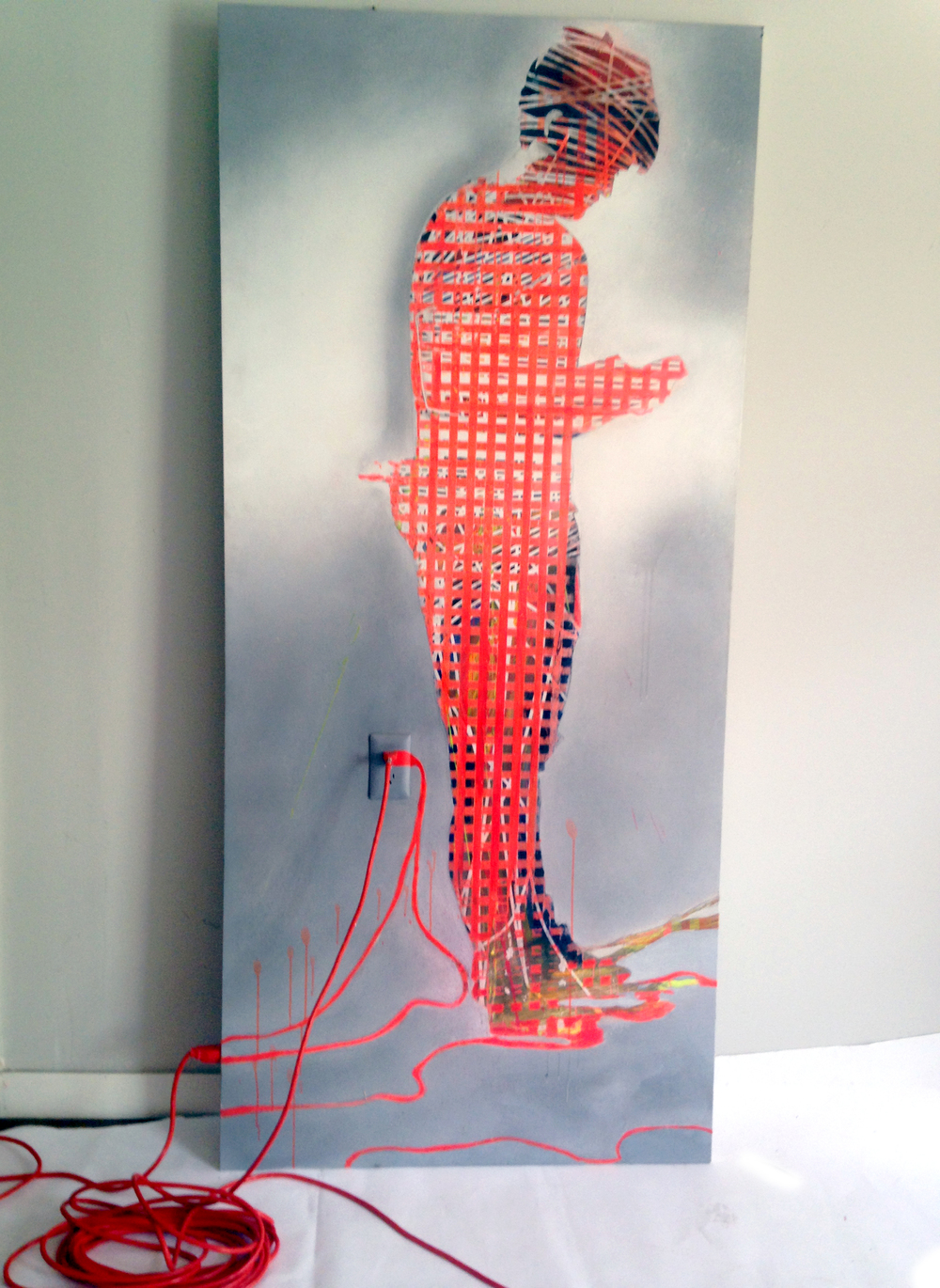 "WIRED  36""x80""  Acrylic on Panel"