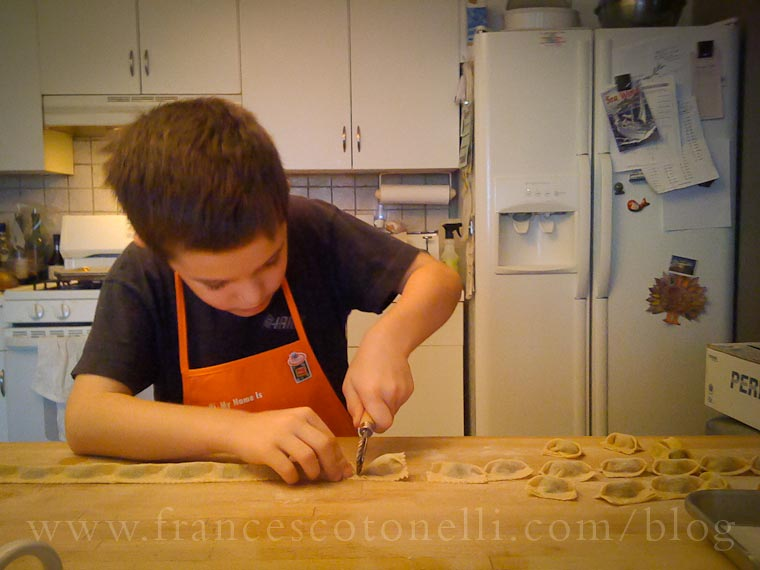 Boy making Agnolotti