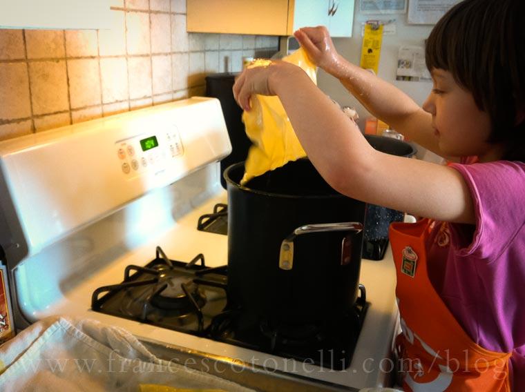Girl making Lasagna