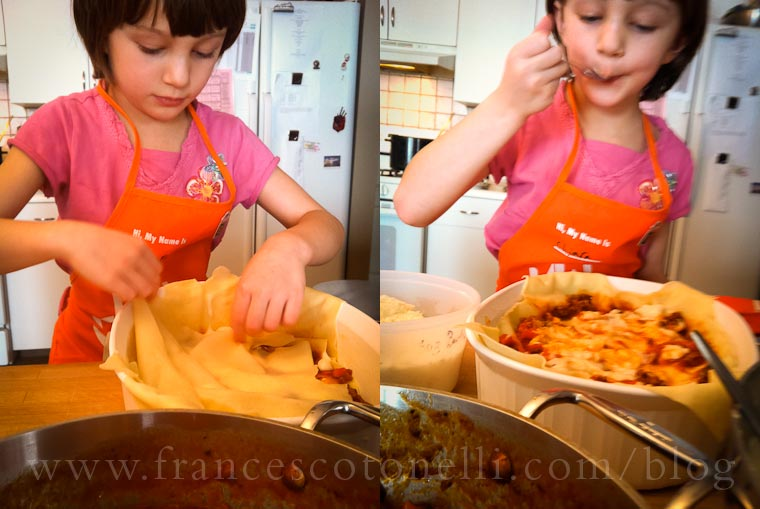 Girl making Lasagna