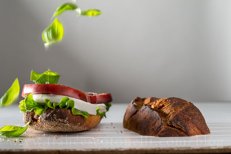 Mozzarella, tomato and basil sandwich
