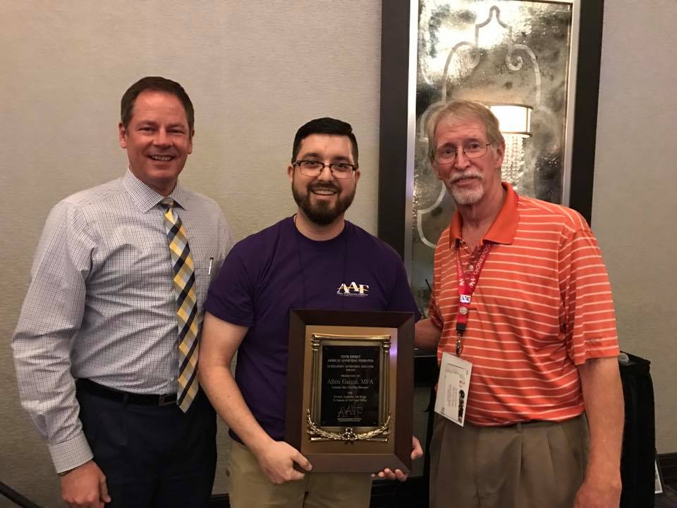Blake Goldston, President of the D10 American Advertising Foundation, Allen Garcie, D10 Educator of the Year, Kevin Dobbs, Executive Director of District 10