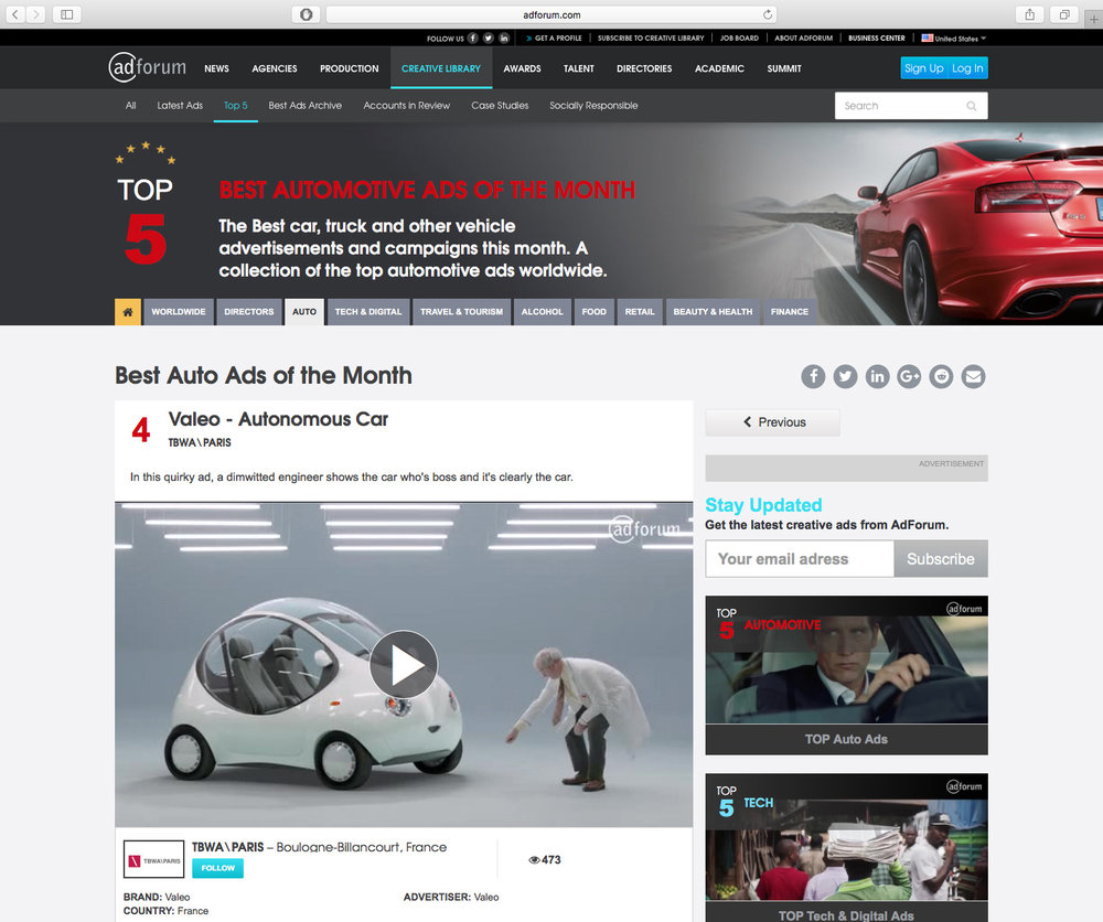 Competing against those giants, Valeo is in the top 5 best auto ads of the Month Worldwide in AdForum!