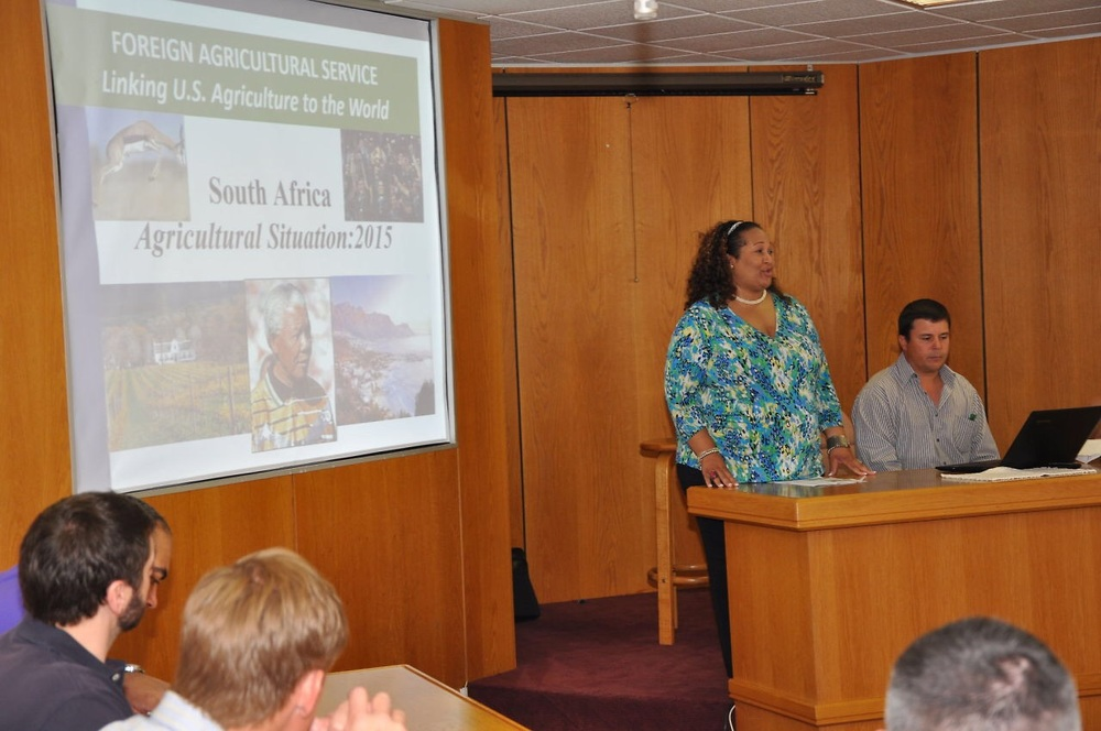 Justina Torry, Senior Agricultural Attache', briefs the group on agriculture in South Africa