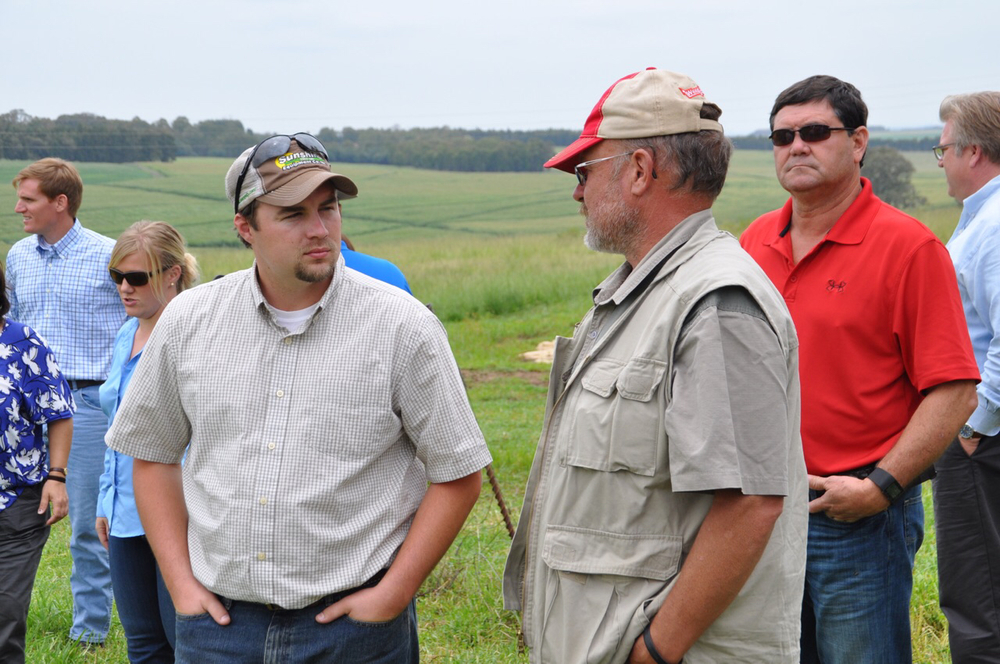 Clint Galiano and Troy Romero talk grass-fed cattle on the Leeubank Farm.