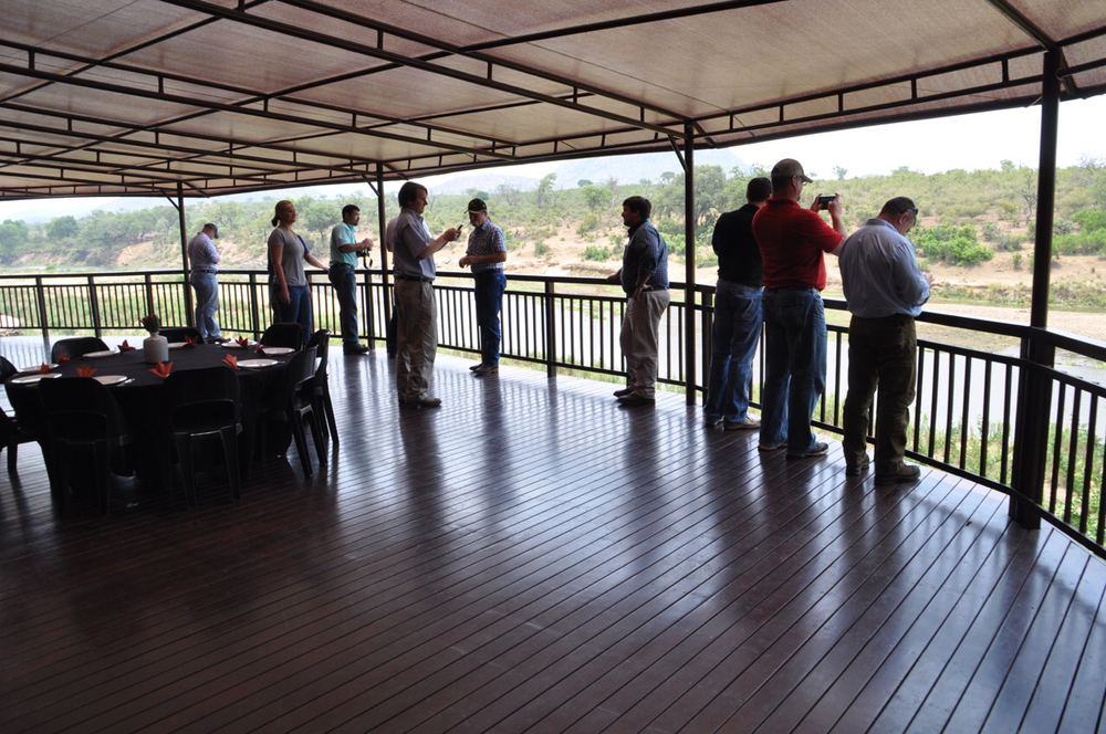 Class XIV looks over the Crocodile River from the balcony of the Mhlati Crocodile Lodge.