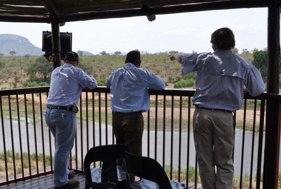 From left to right: Heath Gajan, Trey Gingles and Thomas Crigler point out wildlife along the Crocodile river.