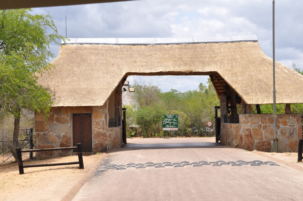 Entrance to the Skukuza Center located in Kruger National Park. Skukuza features its own post office.