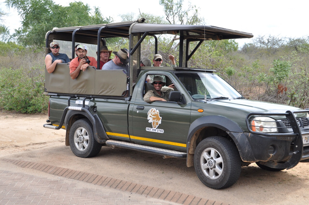 From left to right: Clint Galiano, Brandon Dubois, Chip Hixon, Jared Hicks and Patrick Frischhertz on Safari in the Kruger National Park.