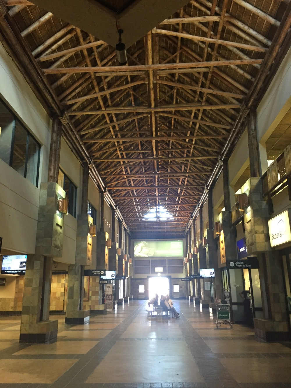 An inside look of the buffalo grass roof of the Nelspruit/Kruger International Airport.