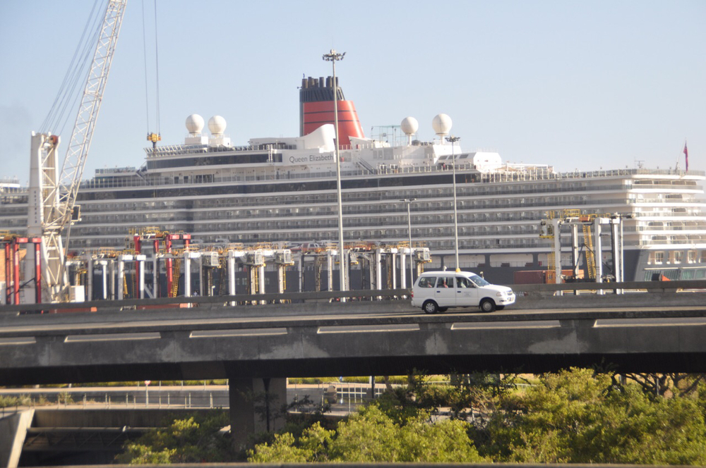 The Queen Elizabeth greeted us in port in Cape Town!