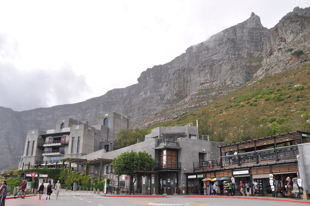 Table Mountain cable way. The cable cars travel more than 3,800 feet to the summit of the mountain.