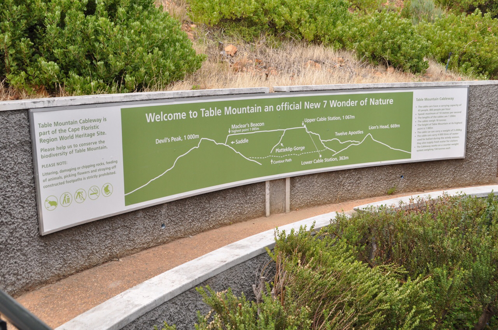 This sign on Table Mountain explains why it is a Seventh Wonder of Nature.