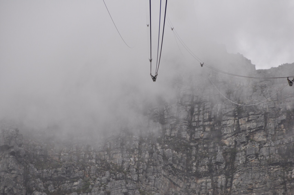 As Class XIV ascends up Table Mountain our cable disappears into the mist.