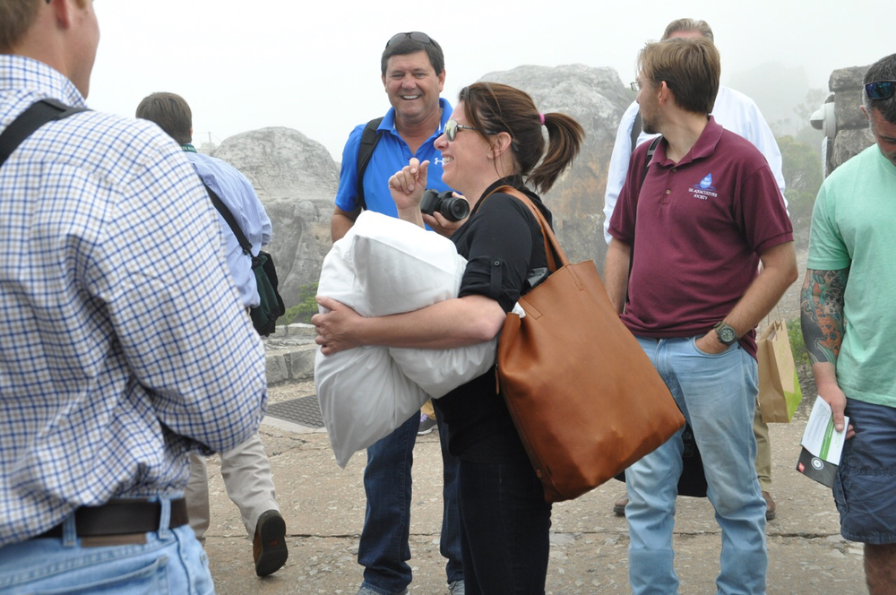 Hester Bourdier makes mischief with classmates on the summit of Table Mountain. Only Hester brings a pillow to a mountain.