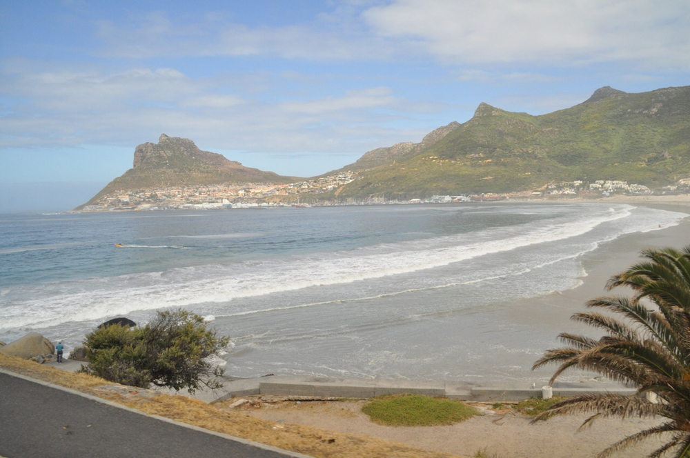 A wide shot of Hout Bay, located on the northwestern side of the peninsula of Cape Town.