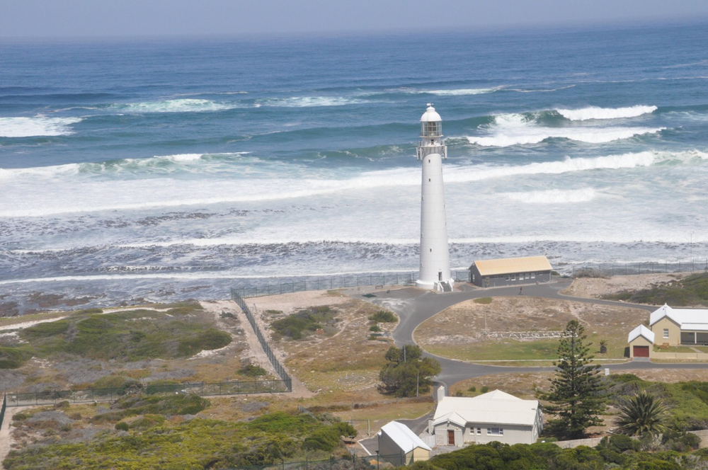A lighthouse located at Klein Slangkop Point on the Noordhoek Beach (North Corner Beach).