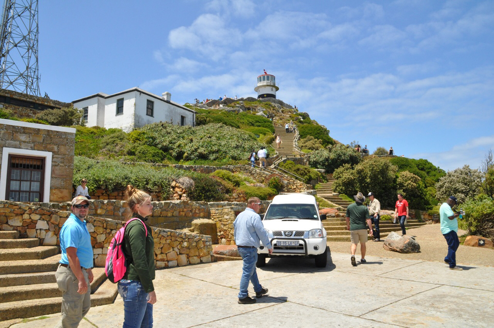 A view of the top of Cape Point. You can see the historic Cape Point Lighthouse in the background.