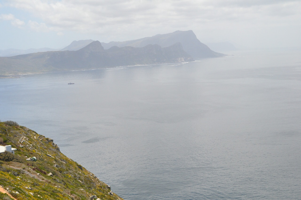 A view overlooking false bay from the Cape Point Lighthouse.