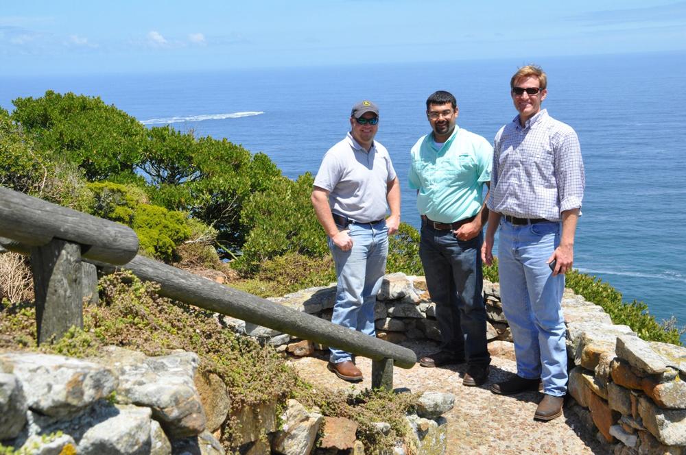 Heath Gajan, Brandon Dubois and Patrick Frischhertz enjoy the spectacular view of the Cape Point Lighthouse.