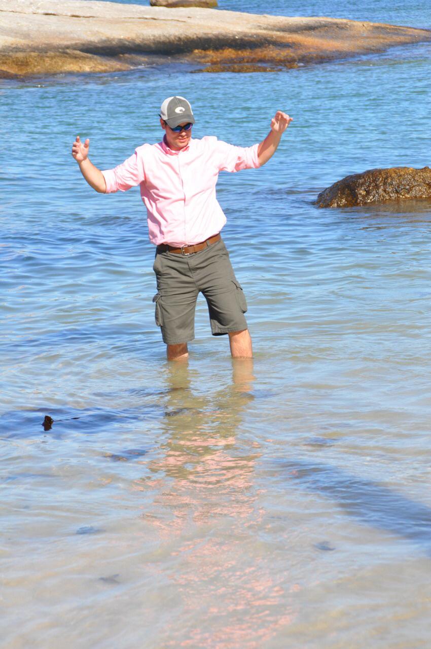 Tripp Shepherd wades in the sparkling Atlantic.
