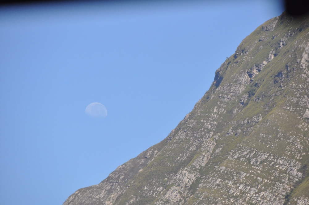 On clear day, you can see forever... A view of the moon from the Creation Winery hear Hermanus, SA