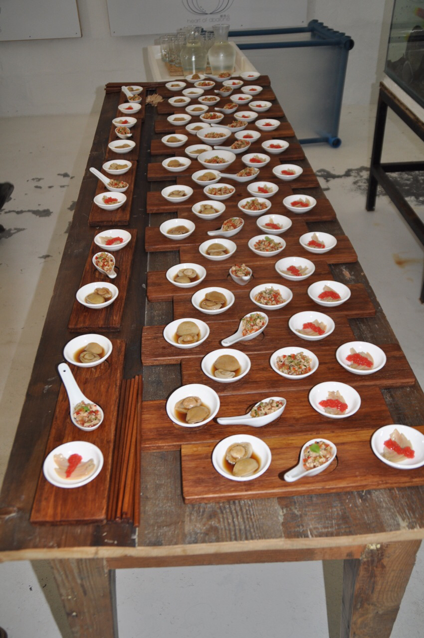 A buffet of abalone products produced by Heart of Abalone.