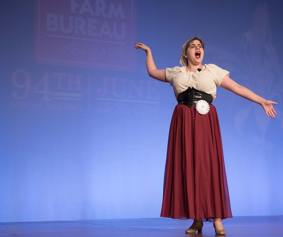 Brittany Schaubhut, 19, from Luling, sings her way to victory in the Senior Talent Contest at the 94th Annual Louisiana Farm Bureau Convention in New Orleans.  Shaubhut said she wants to either be a performer or music educator.