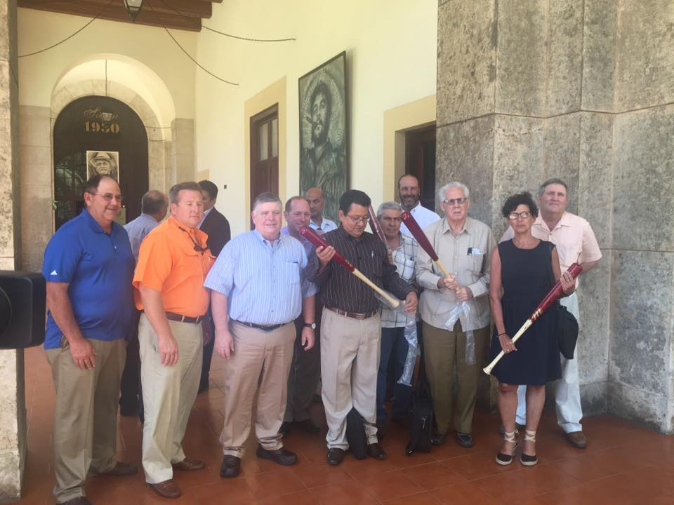 Batting a Thousand - The Louisiana trade delegation presented Cuban trade leaders with Bayou State gifts including Tabasco sauce and Louisiana's Marucci baseball bats.
